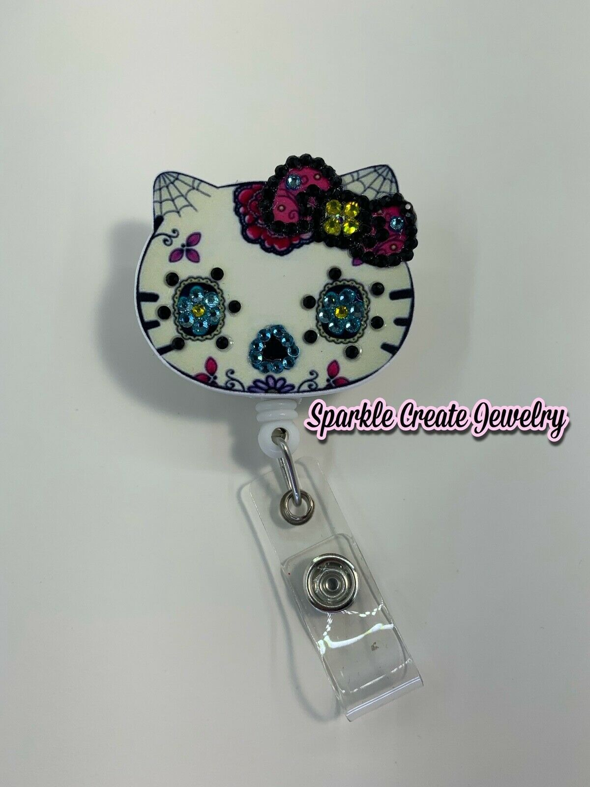Hello Kitty Bling Rhinestone Retractable Badge Reel
