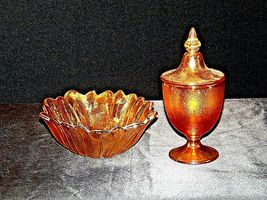 Compote with Lid and Amber Lily Ponds Sunflower Candy Dish Carnival Glass AA19-C image 7