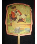 Vintage Advertisement Colored Paper Hand Fan - Little Boy & His Dog By A... - $15.76