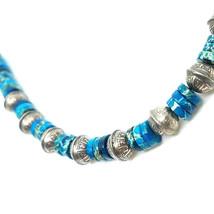 Sterling Silver, Blue Jasper, Beaded Necklace, Silver Jewelry, Healing G... - $47.00