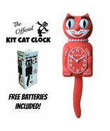"LIVING CORAL LADY KIT CAT CLOCK 15.5"" Free Battery MADE IN USA Kit-Cat K... - $69.99"