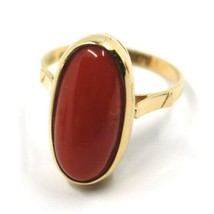 SOLID 18K YELLOW GOLD RING, CABOCHON CENTRAL NATURAL CORAL 18X9mm, MADE IN ITALY image 1