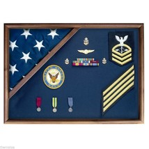 USA MADE WALNUT WOOD MEMORIAL FLAG FOLDED CORNER DISPLAY CASE SHADOW BOX - $270.74