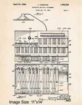 "11""x14"" Hammond Organ Player Gifts Patent Art Print Poster 1934 Church O... - $12.38"
