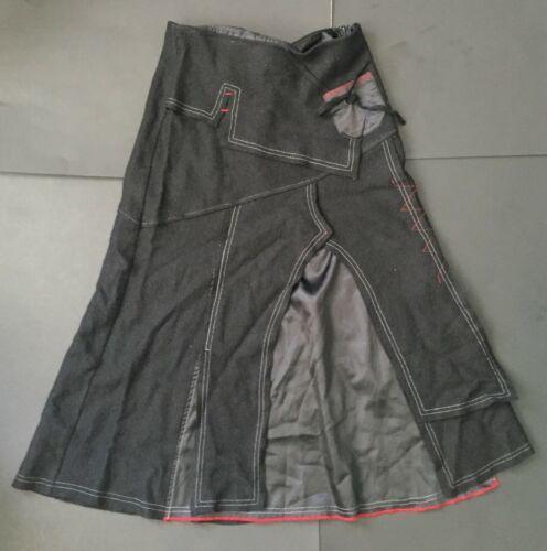 Jane & John Long Black Skirt S Goth Cosplay Red White Trim Wool Blend Unique