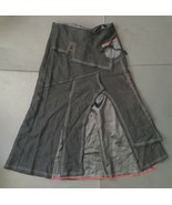 Jane & John Long Black Skirt S Goth Cosplay Red White Trim Wool Blend Un... - $44.54