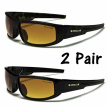 2 Pair Sport Wrap Hd Night Driving Vision Sunglasses Yellow High Definition - $10.88