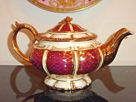 BEAUTIFUL VINTAGE ENGLISH SADLER BURGUNDY & GOLD ENCRUSTED DECORATION TE... - $279.00