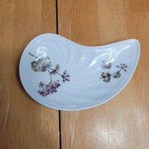 CH Field Haviland Limoges GDM Bone Plate White with Purple Flowers - $9.89