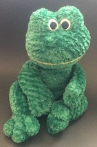 Snuggle Toy Green Frog Beanie Plush Stuffed Animal Embroidered Eyes Flop... - $19.79
