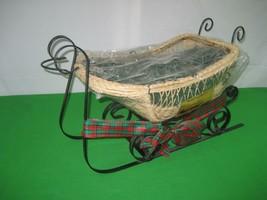 Christmas Decorative Black Metal Centerpiece Santa Sleigh Sled Gift Basket - $18.65