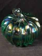 Boyd Glass Pumpkin Paperweight Light Green Iridescent Carnival 8/95 Hand Signed - $74.76