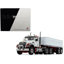 Mack Granite MP with End Dump Trailer White 1/34 Diecast Model by First Gear 10- - $154.61