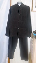 Dress Barn Women's Pant Suit Size 16W Brown Polyester Micro-Suede - Mach... - $31.78