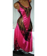 Long Nightgown Pink Fuchsia with V Black Floral Lace Insets L Gowns  - $22.75