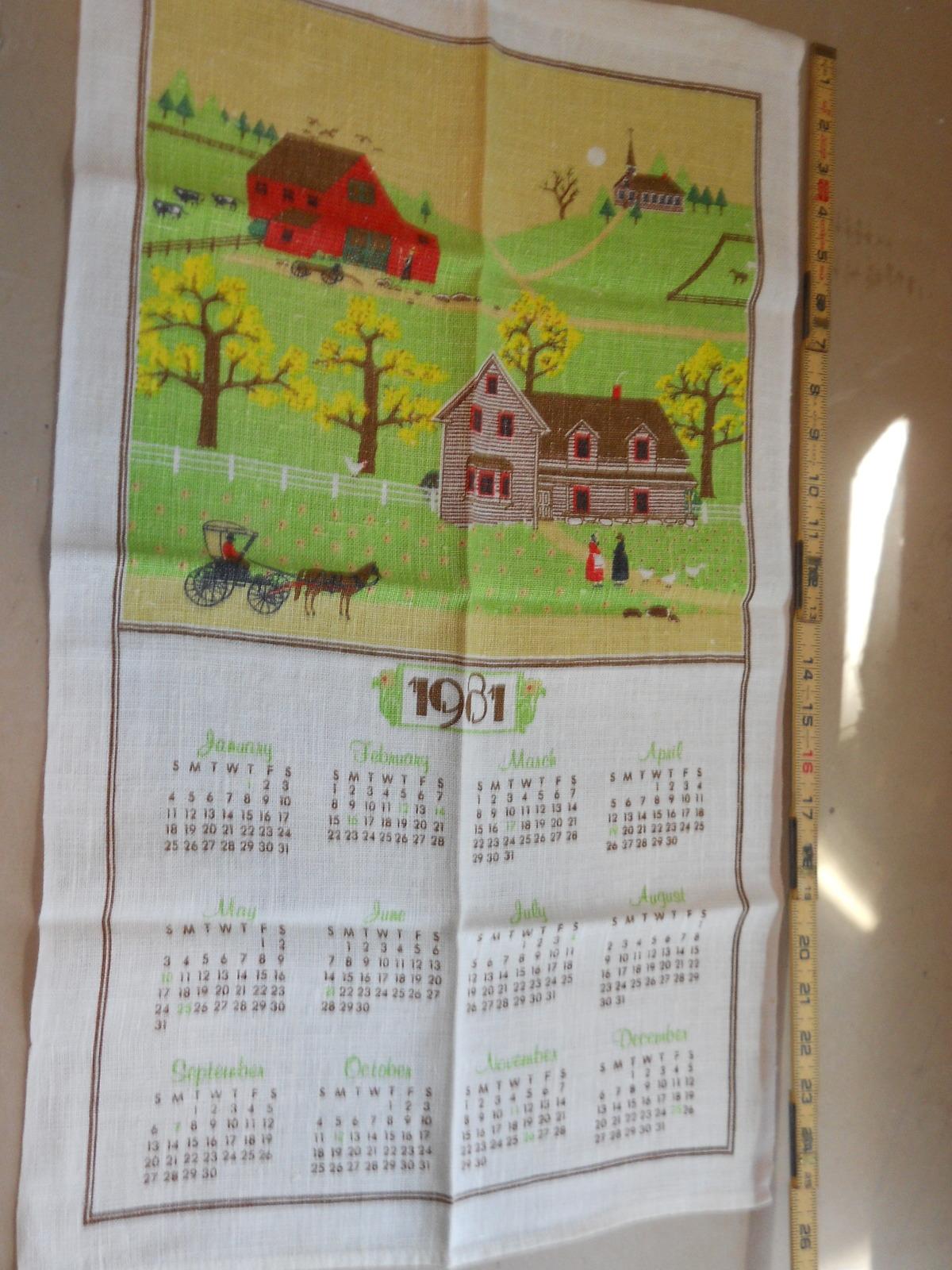 Vintage Linen 1981 Calendar Tea Towel Amish Country 16 x 26