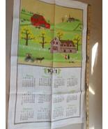 Vintage Linen 1981 Calendar Tea Towel Amish Country 16 x 26 - $12.99