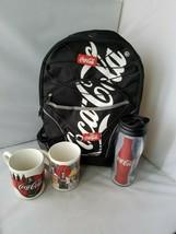 Coca Cola Collector's Set Utility Black Backpack, Travel Mug +Gibson Cof... - $64.86