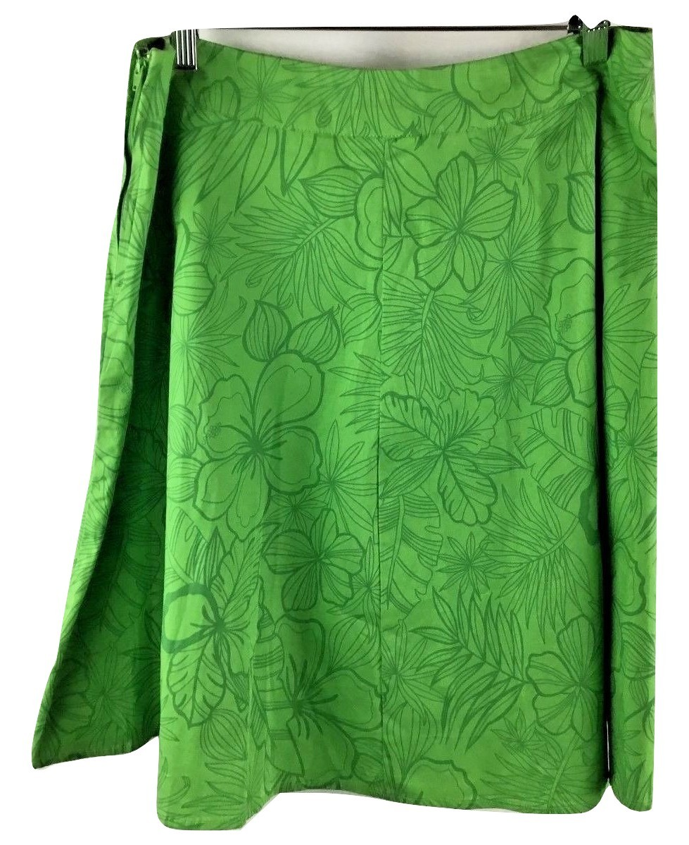Primary image for St. John's Bay Stretch Green Flared Hawaiian Floral Skirt Women's Size 12 Pt.