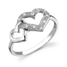 Round Cut White Diamond Double Heart Shape Promise Ring In Solid 14k Whi... - $449.99