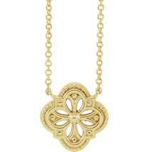 Vintage-Inspired Clover Necklace In 14K Yellow Gold - $287.09