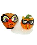 Autumn Pumpkin Salt Pepper Shakers set  Stoneware  Fall - $22.65