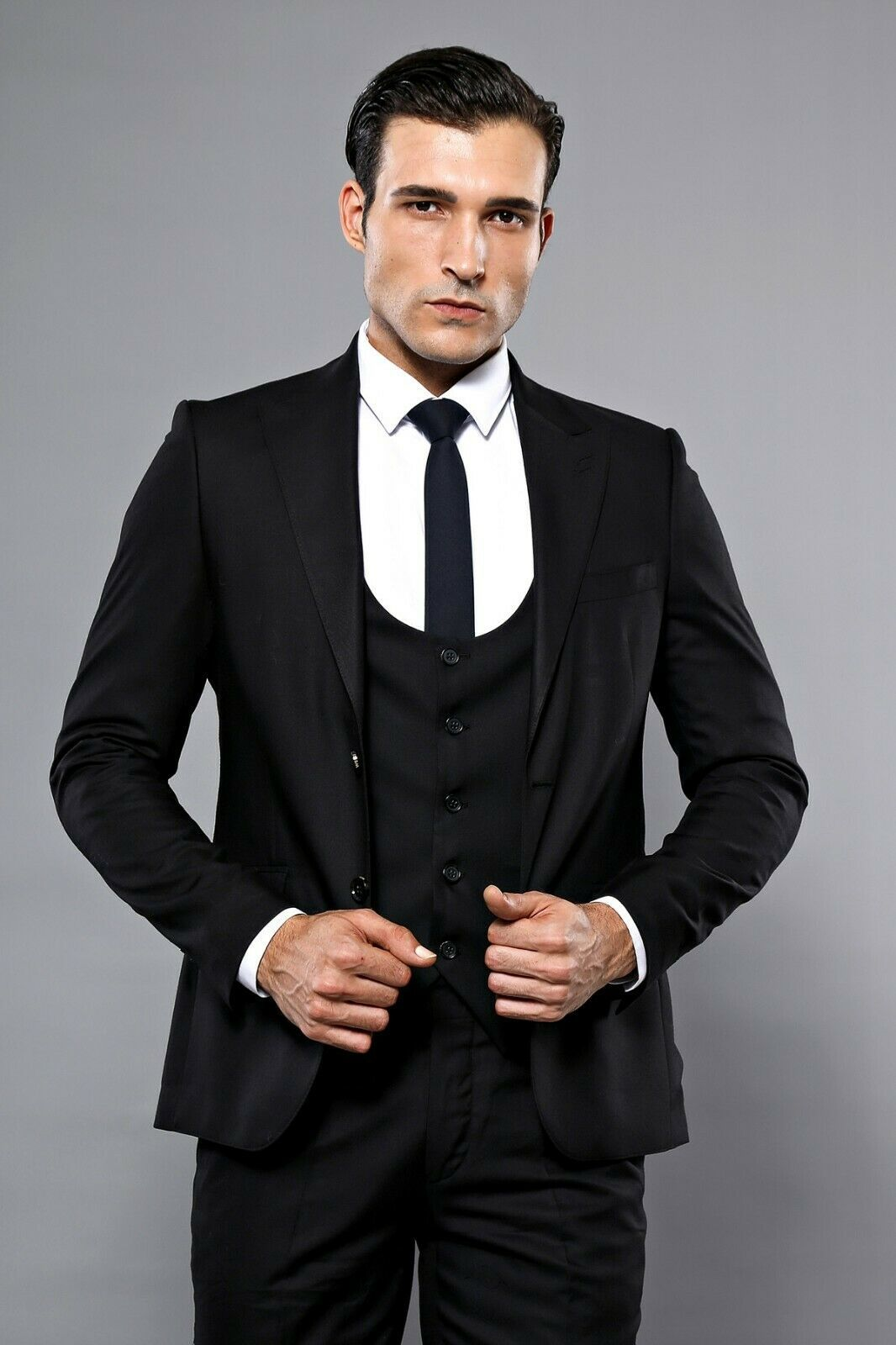 Primary image for Men Three Piece Vested Suit WESSI by J.VALINTIN Extra Slim Fit JV7 Black Sheen