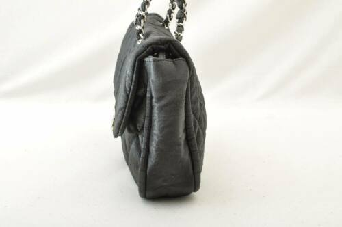 CHANEL Nylon Matelasse Chain Shoulder Bag Black Auth 9576 **Powder image 5