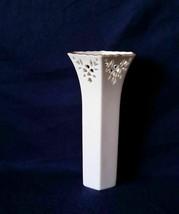"""Vtg Lenox Ivory Shelburne 7"""" Pierced Vase w/ 24K Gold Rim USA - $13.85"""