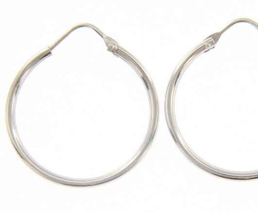 18K WHITE GOLD ROUND CIRCLE EARRINGS DIAMETER 20 MM WIDTH 1.7 MM, MADE IN ITALY