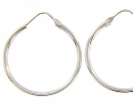 18K WHITE GOLD ROUND CIRCLE EARRINGS DIAMETER 20 MM WIDTH 1.7 MM, MADE IN ITALY image 1