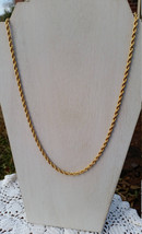 Premier Designs Retired Premira Gold Plated Rope 24 Inch Chain, Signed, ... - $15.00