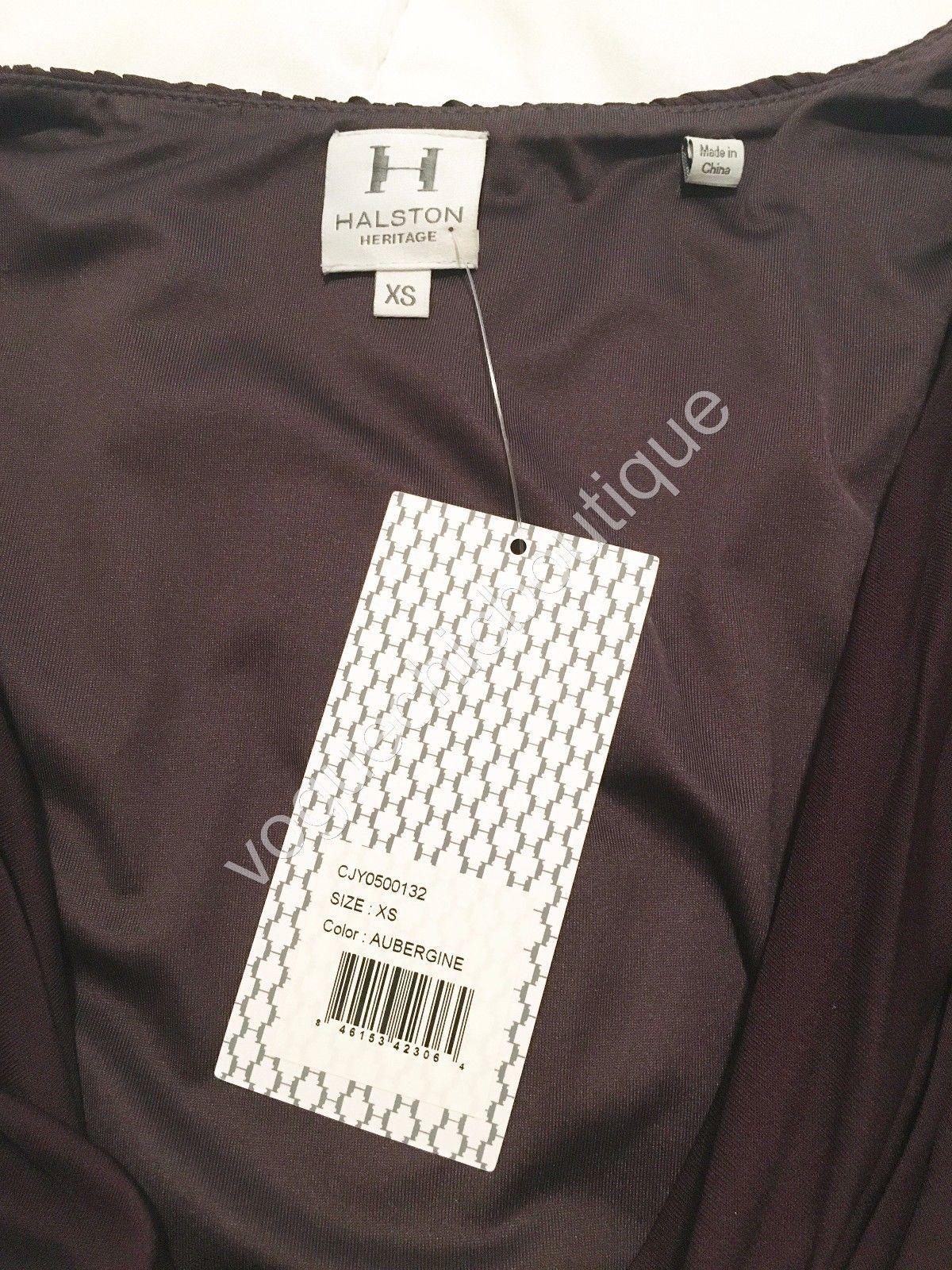 NWT Halston Heritage Ruched Jersey Mini Bodycon Dress Purple Aubergine XS 0 2 image 10