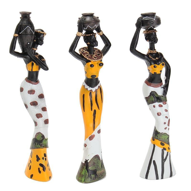 Newest 3PCS African Lady With Vase Ornament Ethnic Statue Sculptures National Cu