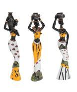 Newest 3PCS African Lady With Vase Ornament Ethnic Statue Sculptures Nat... - $34.99