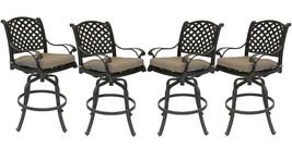 Patio bar stools Set of 4 Outdoor Furniture Nassau Swivel Cast Aluminum Bronze image 1
