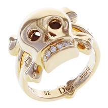 Dior 18K Rose Gold Diamond Skull Ring 0.08 Cttw Size 6.25 EU 52 - $2,304.23