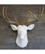 Faux White Deer Head With Green Patina Antlers - $115.00