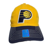 Official NBA Indiana Pacers Adidas Cap Hat Fitted S/M Yellow Blue Basket... - $14.80