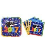Congrats Grad 2017 Paper Plates and Napkins Gra... - $10.99