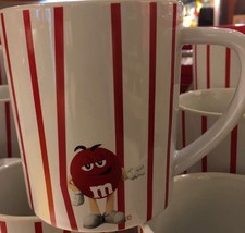 M&M's World Red Vertical Stripes Ceramic Coffee Mug New - $21.80