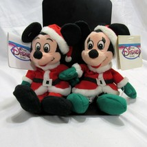 Disney Beanie Plush Lot of 2 Christmas Mickey Mouse Minnie Mouse Santa Costumes - $29.99