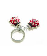 PICARD Enamel Red & Black 2 Ladybugs KEYCHAIN Brilliant Cut Crystal Rhin... - $19.00