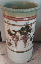 "Jensen Turnage Pottery 8.25"" vase grape vines Lanexa Virginia - $88.83"