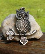 Vintage Marcasite and Rhinestone Owl Pendant - $28.00