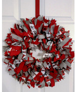 OHIO Red & Grey Ribbon Wreath  3 Sizes Available - $40.00
