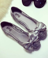 Gray Bridal Ballet Flats,Grey Wedding Flats,Women's Wedding Shoes - $38.00