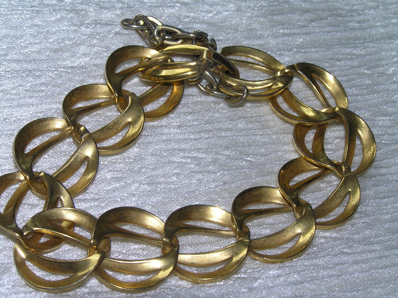 Vintage NAPIER Signed Two Open Goldtone Crescents Link Bracelet w Safety Chain