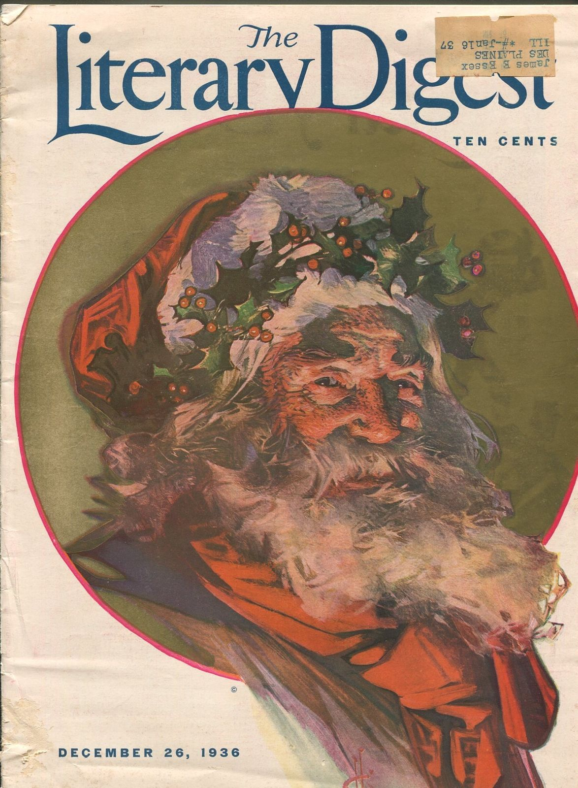 Primary image for LITERARY DIGEST 12/26/1936-SANTA CLAUS COVER-LEYENDECKER-H.G. WELLS-vg+