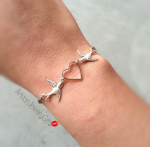 Silver Love Birds Bracelet Silver Sparrows Heart Bracelet Bridesmaid Gif... - $28.00